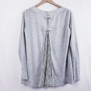 A'reve Grey Daisy Lace Cardigan W Bows on back S